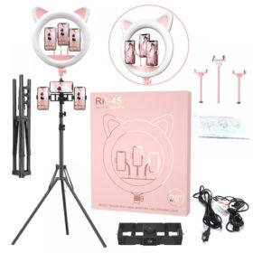 Кольцевая лампа котик с ушками розовая