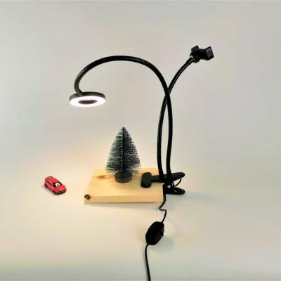 Лампа кольцевая на прищепке 8 см черная