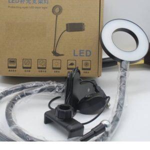 Удобная кольцевая лампа с держателем на прищепке