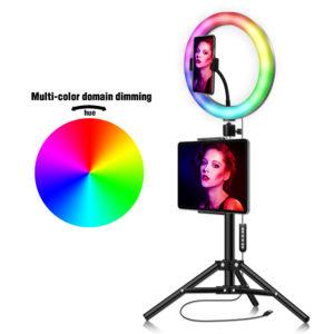 Кольцевая лампа 33 см разноцветная RGB с пультом на штативе