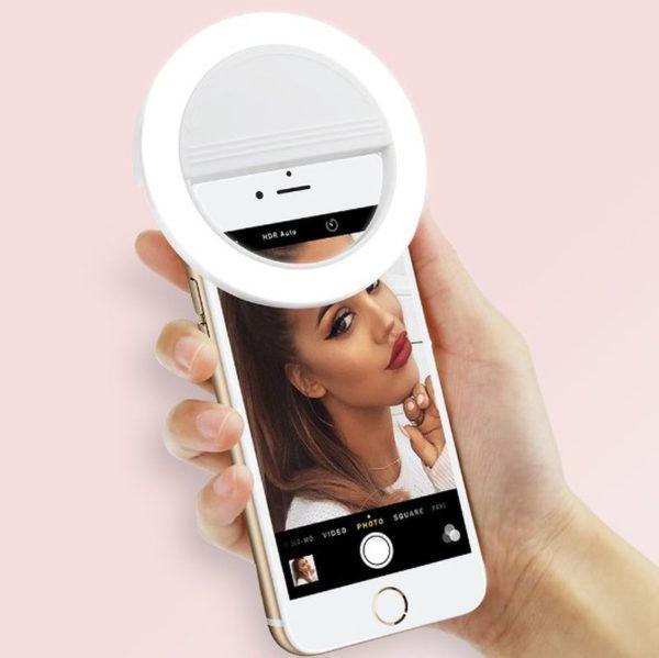Кольцевая лампа-прищепка на смартфон для сэлфи