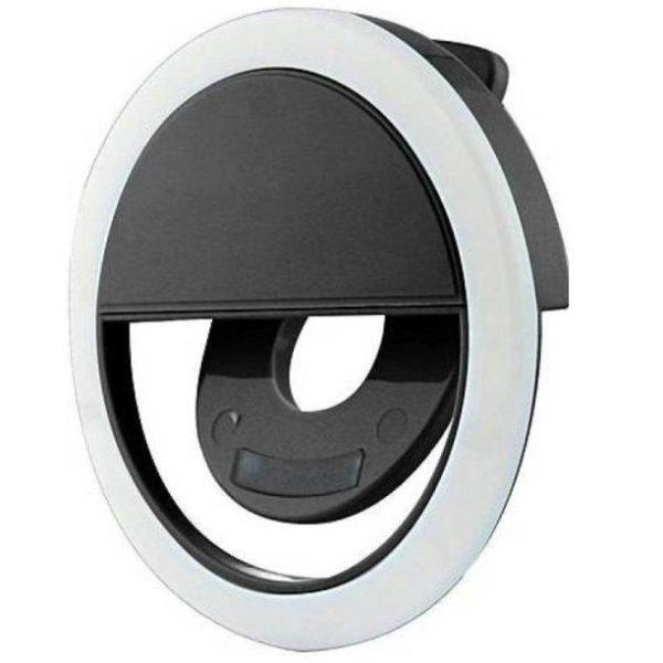 Кольцевая лампа-прищепка на смартфон для сэлфи черная