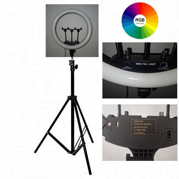 Кольцевая лампа купить 45 см RGB РГБ мультиколор разноцветная большая