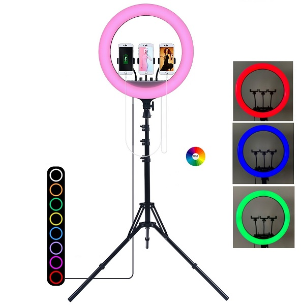 Кольцевая лампа купить 45 см RGB РГБ мультиколор разноцветная с пультом