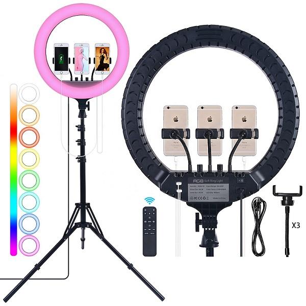 Кольцевая лампа купить 45 см RGB РГБ мультиколор разноцветная