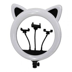 Кольцевая лампа RK-45 котик с ушками черная