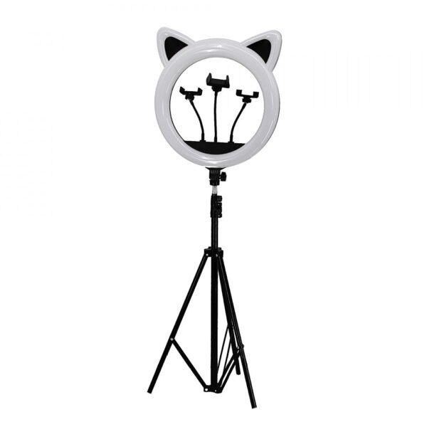 Кольцевая лампа RK-45 котик с ушками черная мощная 65 Ватт