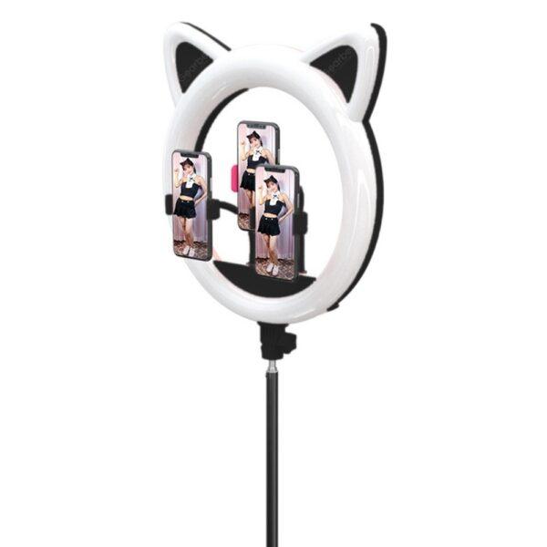 Кольцевая лампа RK-45 котик с ушками черная на штативе