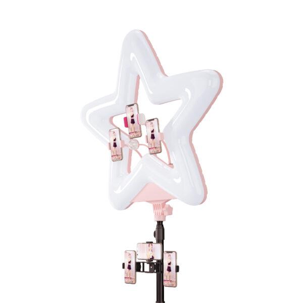 Кольцевая лампа RK-51 звезда RGB розовая