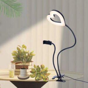 Кольцевая лампа настольная прищепка Мини-Сердце