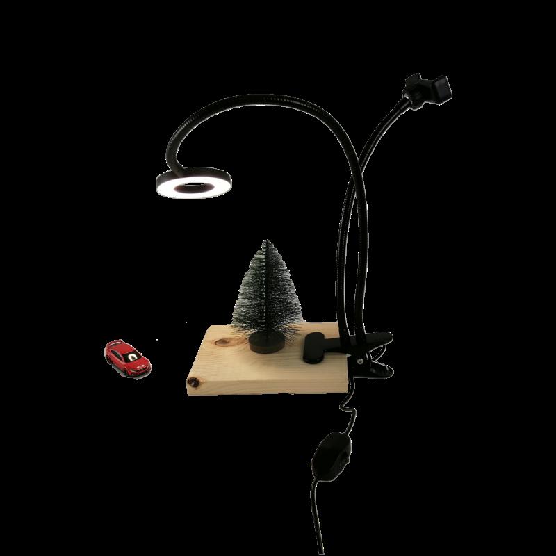 Кольцевая лампа 9 см на прищепке черная